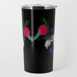 Sgraffito Birds - Bright Fuchsia Botanical Birds and Flowers Travel Mug