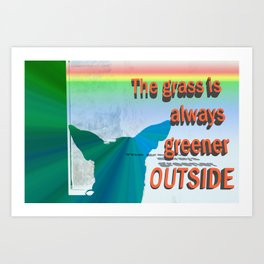 Dogs know where the grass is greener Art Print