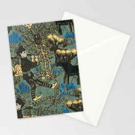 Leprechaun in the forest with reindeer (blue grey) Stationery Cards