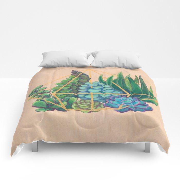 Geometric Terrarium 1 Acrylic on Wood Painting Comforters