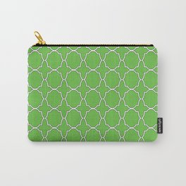 Green Quatrefoil Pattern Carry-All Pouch
