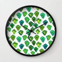 Green gemstone pattern. Wall Clock
