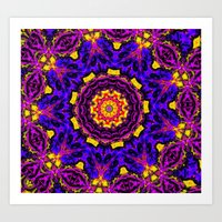 Lovely Healing Mandalas in Brilliant Colors: Black, Orchid, Yellow, Royal Blue and Pink Art Print