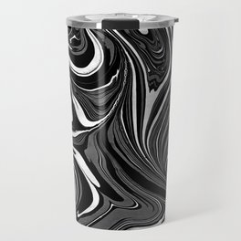 Black White Grey Marble Travel Mug