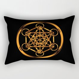 Metatron Cube Gold Rectangular Pillow
