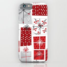 seamless christmas gift pattern iPhone Case