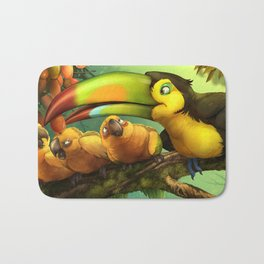 Toucan and Sun Conures : Jungle berries animal art painting birds feathers rain forest conservation Bath Mat