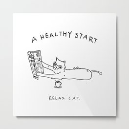 Relax Cat, A Healthy Start, Newspaper and Coffee Metal Print