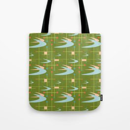 Mid Century Modern Boomerangs on Lime Green Tote Bag