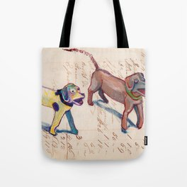 Vintage Metal Dogs with Spring Tails in Mixed Media Tote Bag