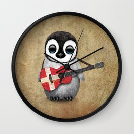 Baby Penguin Playing Danish Flag Acoustic Guitar Wall Clock