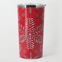 DP044-8 Silver snowflakes on red Travel Mug