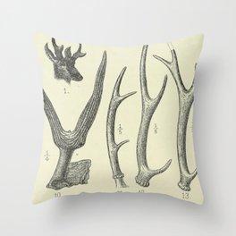 Vintage Antlers Throw Pillow