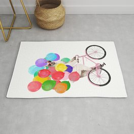 Fashion Llama Riding with Colourful Balloons Rug