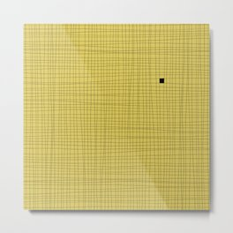 Yellow and Black Grid - Something's missing Metal Print