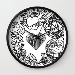 love and doodles Wall Clock