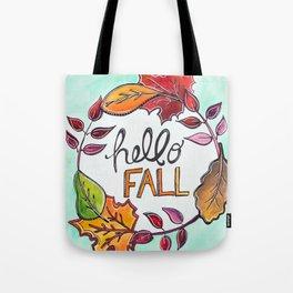 """""""Hello Fall"""" Leaf Art Tote Bag"""