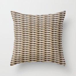Closeup rattan wickerwork texture Throw Pillow