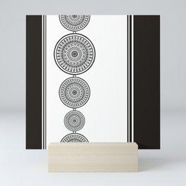 Black and White Mandala - Boho Style ink art, Three Mandala Design Mini Art Print