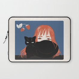 Hiding Behind a Black Cat Laptop Sleeve