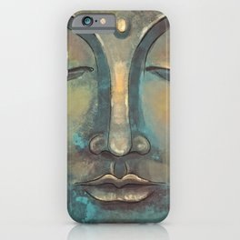 Rusty Golden Copper Buddha Face Watercolor Painting iPhone Case