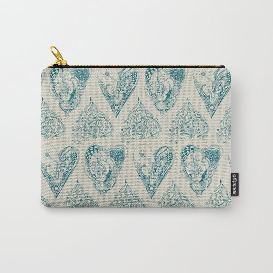 Blue and beige tangled heart pattern Carry-All Pouch