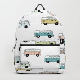 Happy Camper Van Bus blue traveling hippie summer pattern design print Backpack