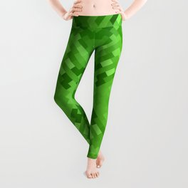 LAWN bright emerald green monotone subtle pattern Leggings