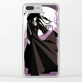 dark gothic black dress woman holding a crow bird in the night Clear iPhone Case