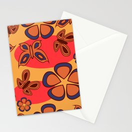 Pattern with butterflies and flowers Stationery Cards