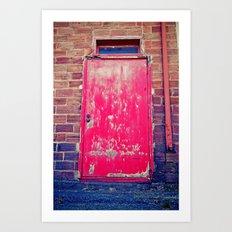 Red alley door Art Print