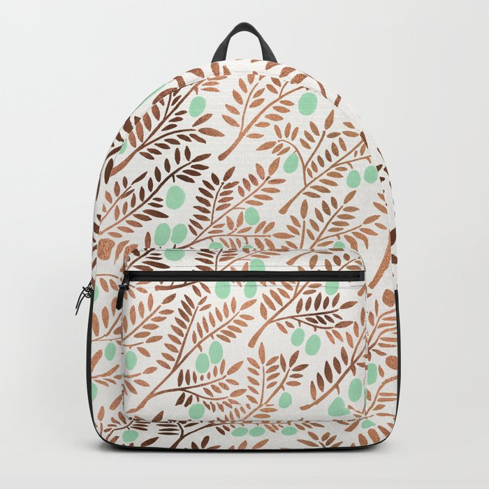 Olive Branches – Rose Gold & Mint Rucksack