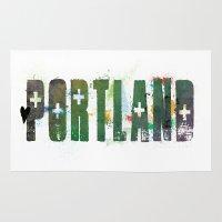 portland Area & Throw Rugs featuring Portland by Tonya Doughty