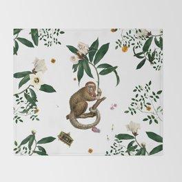 Monkey World: Amber-Ella - White Throw Blanket