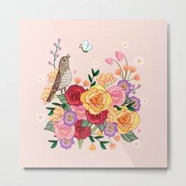 Song Thrush In a Rose Garden Metal Print