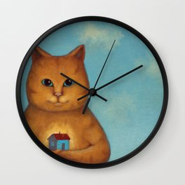 Every Cat need a Home. Ginger Cat Illustration Wall Clock
