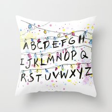Stranger Things Alphabet Wall Christmas Lights Typography Throw Pillow