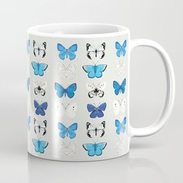 Lepitoptery No. 2 - Blue and White Butterflies and Moths Coffee Mug