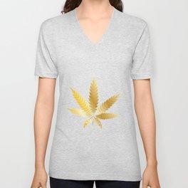 Gold Cannabis Leaf Unisex V-Neck