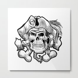 pirate skull in a bandana and a hat with feathers. Metal Print