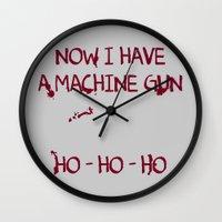die hard Wall Clocks featuring Die hard: Now I have a machine gun Ho-Ho-Ho by dutyfreak