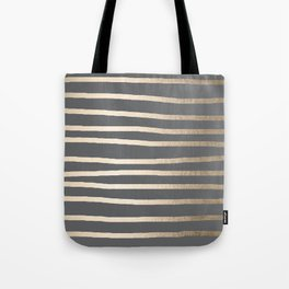 Simply Drawn Stripes White Gold Sands on Storm Gray Tote Bag