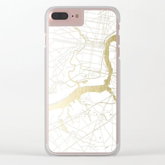 Philidelphia - White and Gold Clear iPhone Case