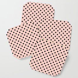 Small black polka dots on a pink beige background. Coaster