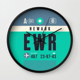 Baggage Tag A - EWR Newark Liberty USA Wall Clock