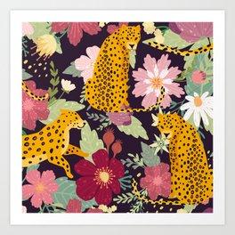 flower leopard Art Print