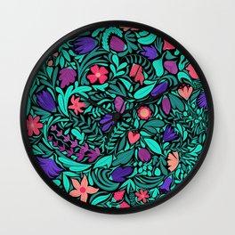 Spring Black Flowers Leaves Illustration Pattern Wall Clock