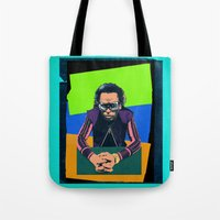 miles davis Tote Bags featuring Davis by Nope