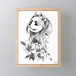 Smoking Kitsune Framed Mini Art Print