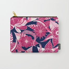 Artsy Modern Fuschia Navy Acrylic Floral Leaves Carry-All Pouch